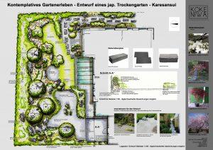 Entwurfsbeispiel für einen Trockenlandschaftsgarten - Karesansui